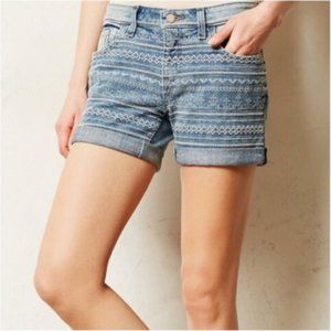 Pilcro and the Letterpress Embroidered Jean Shorts